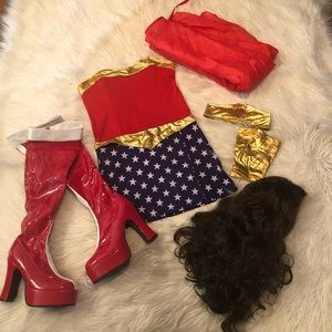 Wonder women costume with boots and wig